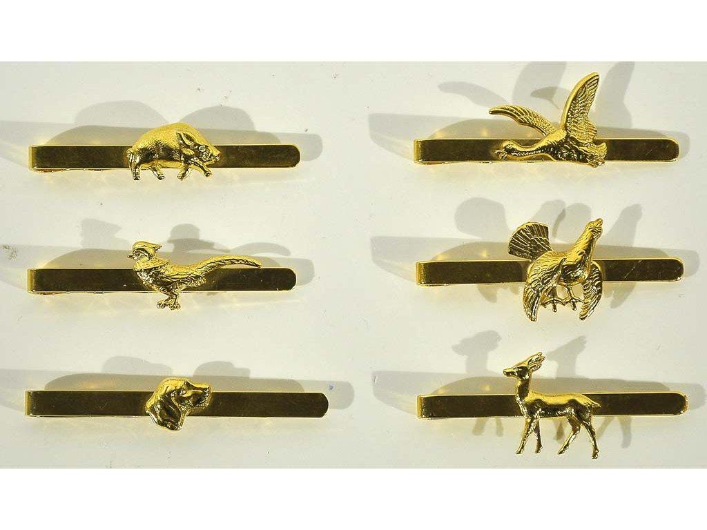 Myslivecká spona na kravatu - zlatá