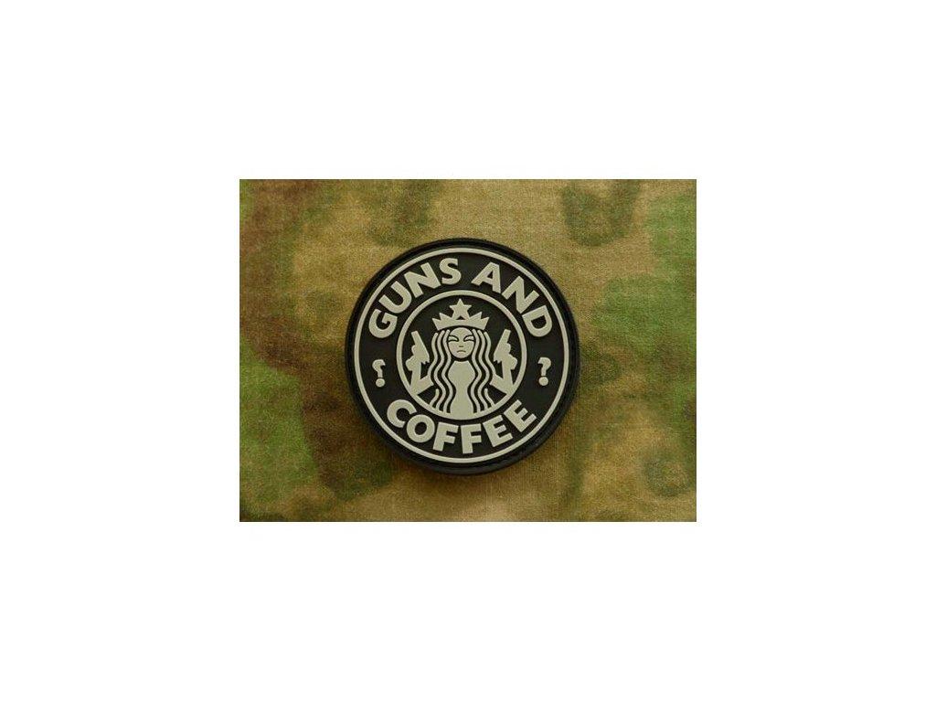 Nášivka GUNS AND COFFEE plast ČERNÁ