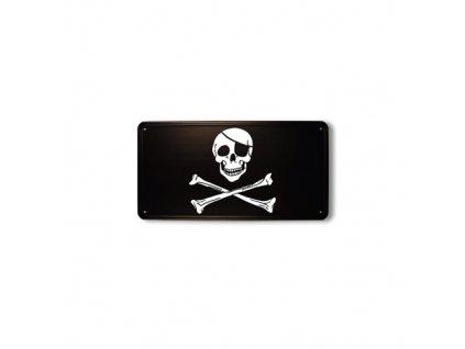 Cedule plechová pirátská lebka a zkřížené hnáty