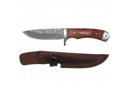 """Nůž """"Damašek"""" dřevěná střenka + kožené pouzdro"""