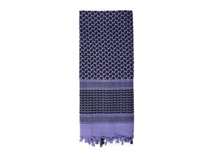 Šátek SHEMAGH 105 x 105 cm FIALOVO-ČERNÝ