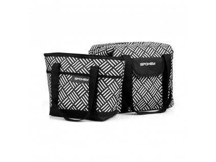 Spokey ACAPULCO Plážová termo taška malá, černo-bílá, 39 x 15 x 27 cm