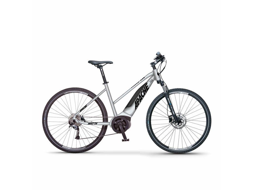 Elektrokolo krosové Apache Matta Bosch Performance pearl white  + Cyklistické světlo INFINI Olley set PŘEDNÍ + ZADNÍ USB