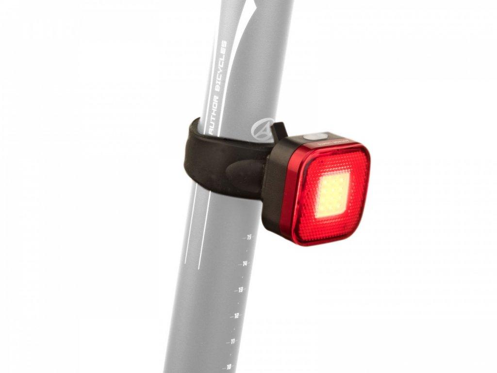 Světlo zad. A-Square USB CobLed 40 lm černá/červené-sklo