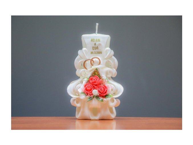 batch 15cm svatební svíce s kytičkou, prstýnky a ploškou na nápis