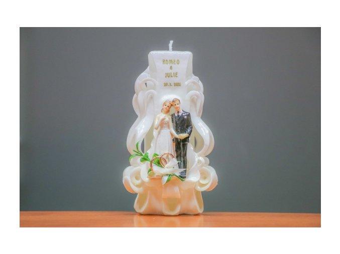 batch 20cm svatební svíce figurkou, prstýnky a ploškou na nápis