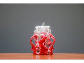 Svíce Valentýn 10 cm - se dvěma srdíčky