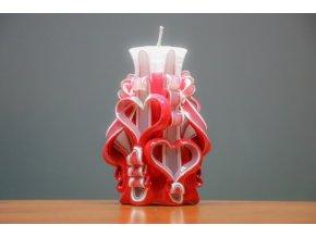 Svíce Valentýn 15 cm - se dvěma srdíčky