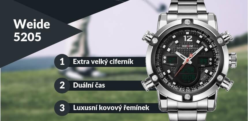Kupte stříbrné hodinky Weide 5205 s kovovým řemínkem
