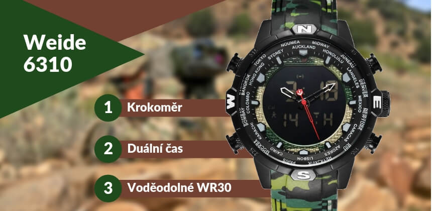 Kupte si vojenské hodinky Weide 6310 s krokoměrem