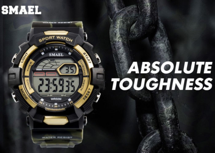 panske-sportovni-digitalni-hodinky-smael-1527-khaki-army-zlate-banner
