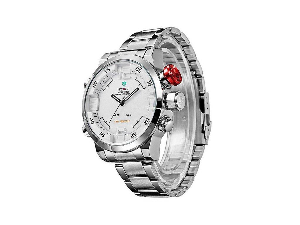 75000a51498 Pánské hodinky WEIDE 2309 bílé + 100% skladem + doprava zdarma po ČR