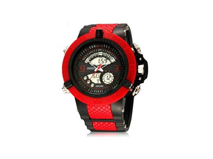 Pánské hodinky Ohsen červeno černé  + 100% skladem + doprava zdarma