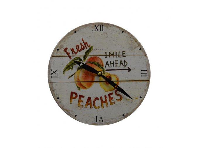 Kuchyňské nástěnné RETRO hodinypeaches  + 100% skladem + náramek zdarma