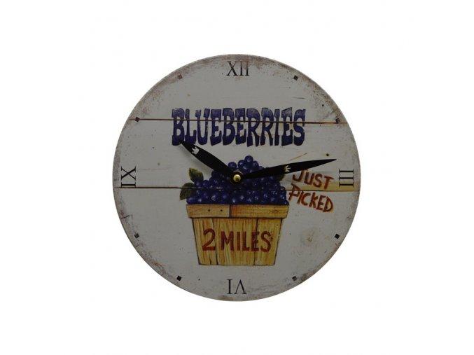 Kuchyňské nástěnné RETRO hodiny blueberries  + 100% skladem
