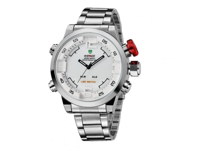 panske hodinky wide wh 2309 chromove bile chrom