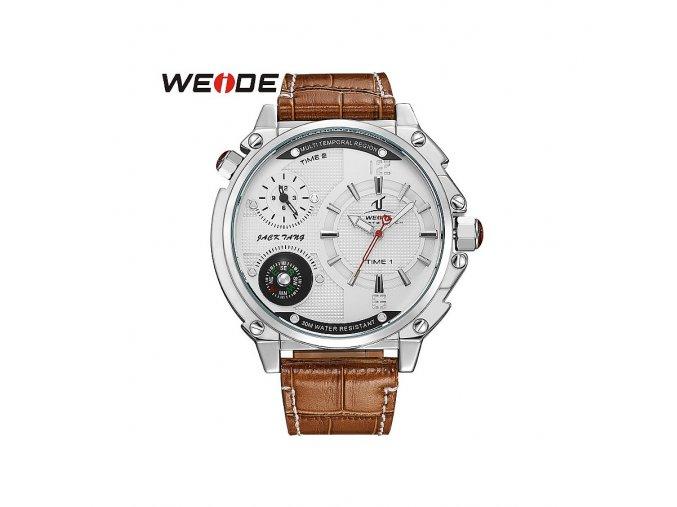 Pánské hodinky WEIDE 1507 chromově stříbrné - bílé  + 100% skladem + doprava zdarma