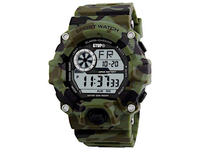 sportovni digitalni vojenske army hodinky vodotesne outdoorove gtup 1040 maskovane khaki