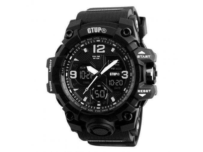 Sportovní hodinky GTUP 1050 Shock resist černé s duálním časem  + 100% skladem + doprava zdarma