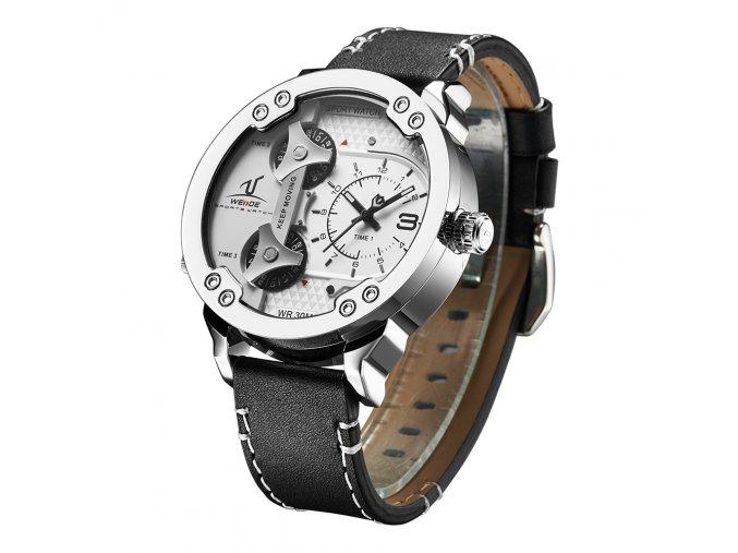 Pánské hodinky WEIDE 1506 stříbrné hodinky - bílé  + doprava zdarma po ČR + náramek zdarma