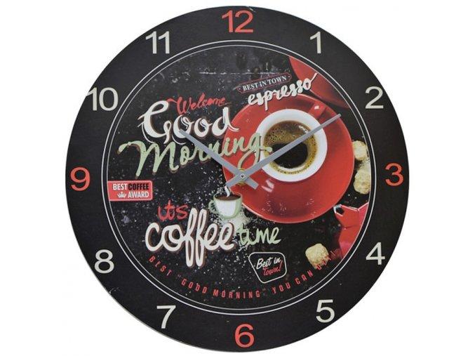 nástěnné hodiny good morning espresso coffee best in town
