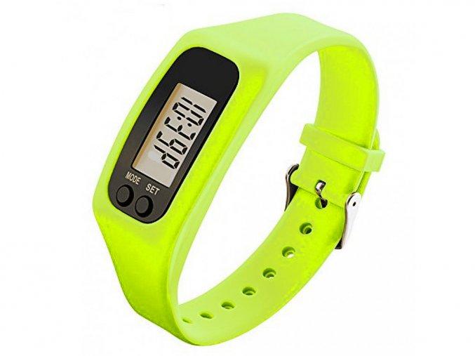 hodinky s krokomerem na krokomer jako hodinky na ruku zelene digitalni pedometer