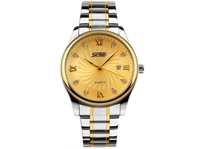 panske elegantni hodinky skmei 9101 zlate