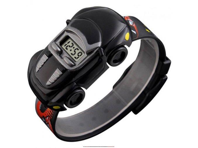 detske hodinky skmei1241 ve tvaru auticka s kterým si vytvorite autodrahu cerne z boku