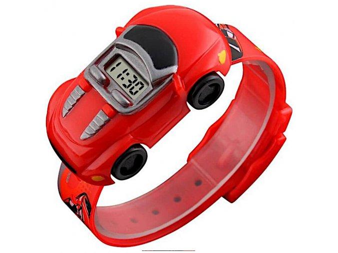 detske hodinky skmei1241 ve tvaru auticka s kterým si vytvorite autodrahu cervene z boku