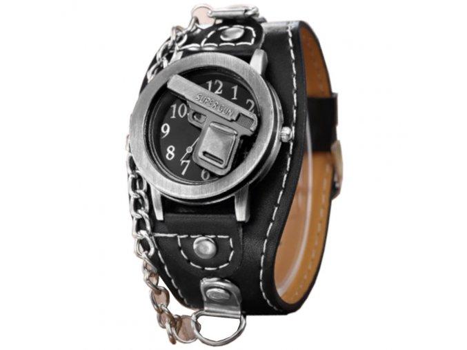 panske motorkarske hodinky s lebkou pankove Gun