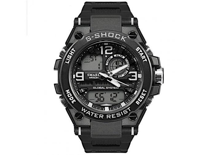 panske digitlni sportovni hodinky s dualnim casem 1603 bílé