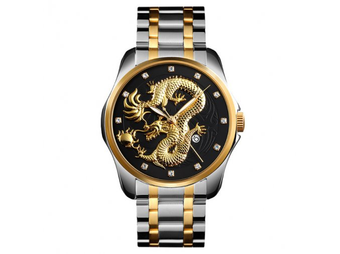 panske hodinky analogove rucickove s cinskym drakem 9193 2