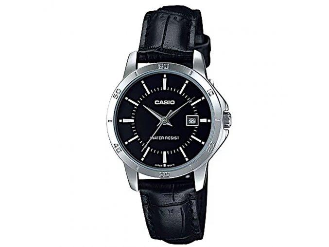 damske elegantni naramkove hodinky casio s kozenym reminkem 004
