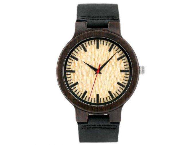 drevene hodinky zx038a s kozenym reminkem ze dreva