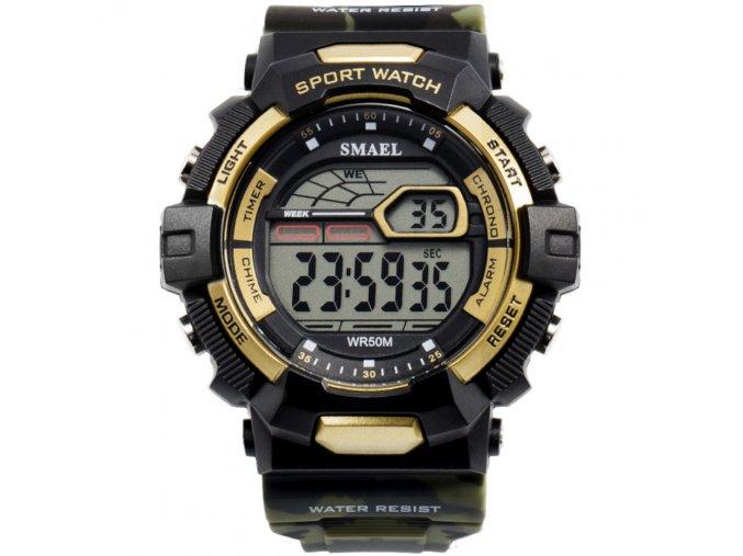 panske sportovni digitalni hodinky smael 1527 zlate army green