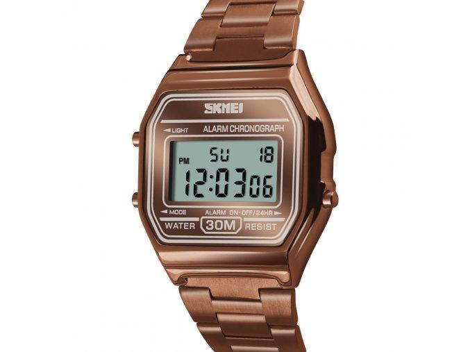 panske retro hodinky 1123 medene s kovovym reminkem