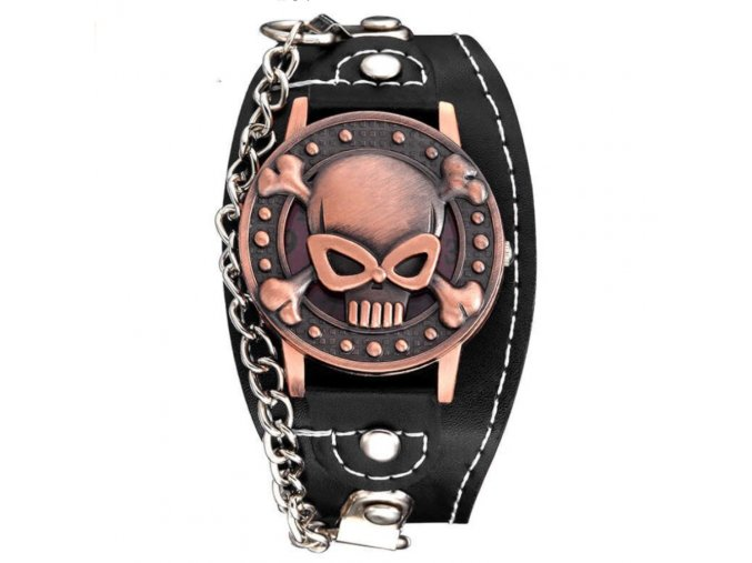 motorkarske hodinky punk lebka ruzove