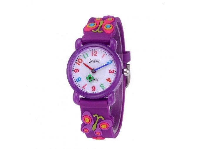 detske hodinky jnew s 3d reminkem barevne fialovy motylek 1