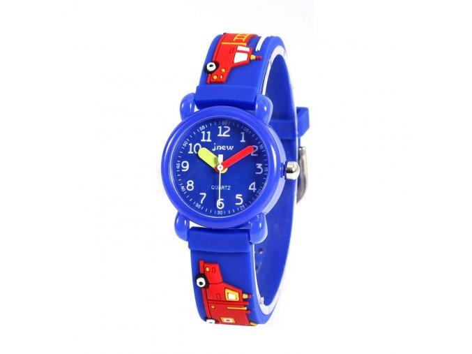 detske hodinky jnew s 3d reminkem barevne modry pozarnik 86182 3