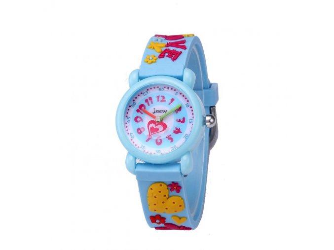 detske hodinky jnew s 3d reminkem barevne modre srdicka 86182 2