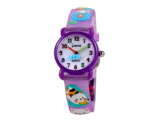 detske hodinky jnew s 3d reminkem barevne fialove kocicky 86192 4