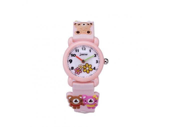 detske hodinky jnew s 3d reminkem barevne ruzove 86177 1 medvidci