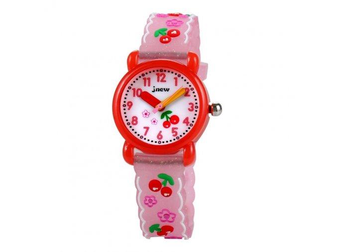 detske hodinky jnew s 3d reminkem barevne ruzove tresnicky