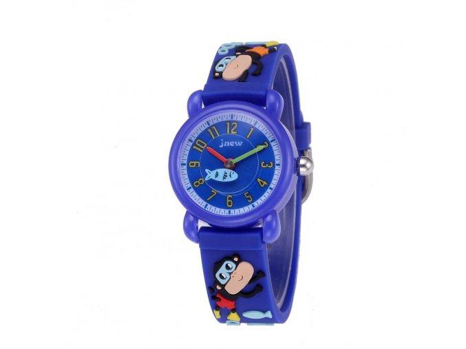 detske hodinky jnew s 3d reminkem barevne modre opicky 1