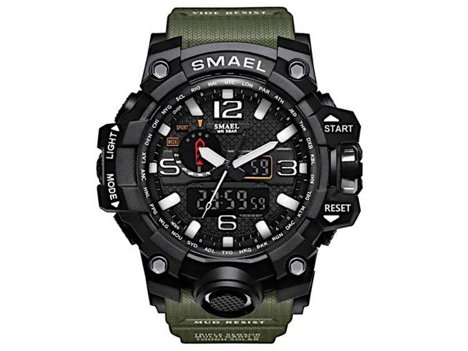 digitalni hodinky s dualnim casem smael 1545 army green