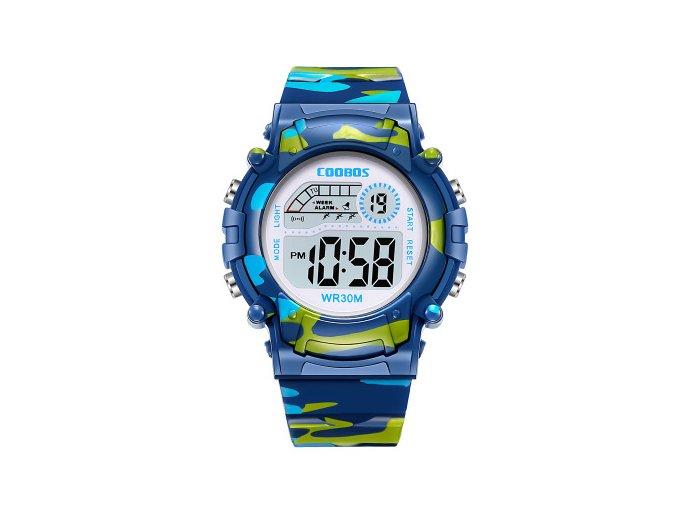 detske digitalni vojenske maskovane army hodinky coobos blue