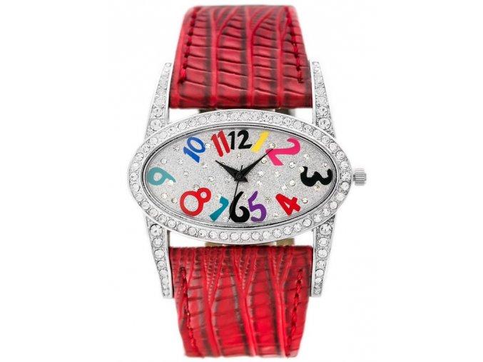 damske naramkove hodinky s krystaly a kozenym reminkem gino rossi cervene (2)