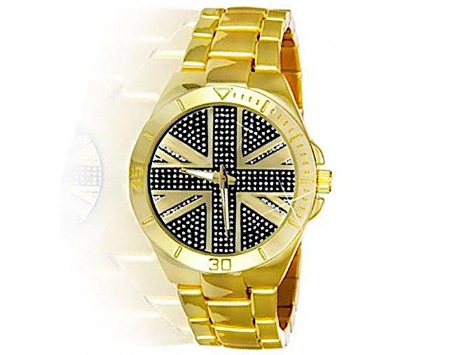 hodinky rucickove s anglickou vlajkou na ciferniku england zlate celokovove hlavni
