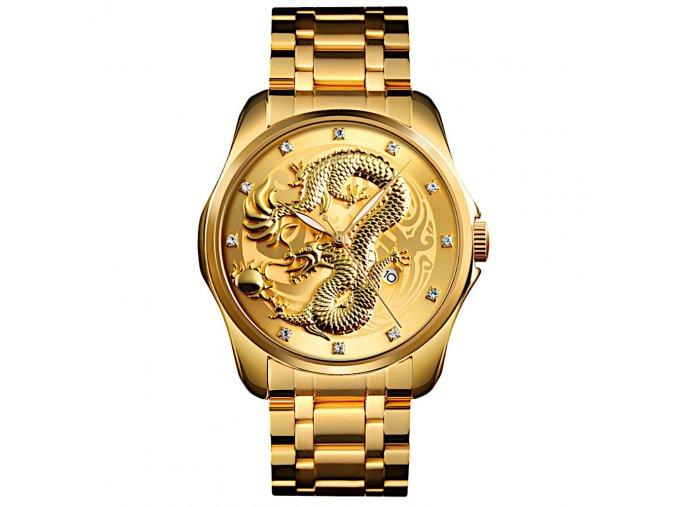 panske rucickove hodinky cinsky drak zlate skmei hlavni foto