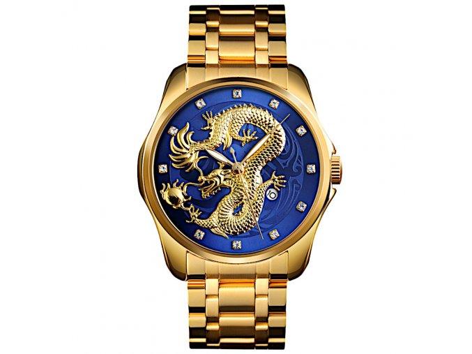 panske rucickove hodinky cinsky drak modre skmei hlavni foto